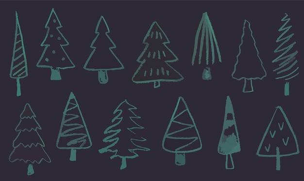 Doodle kerstboom om zwarte achtergrond vakantie decor