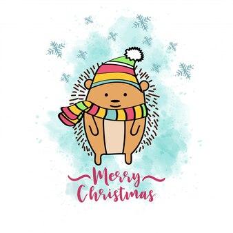 Doodle kerstkaart met geklede egel
