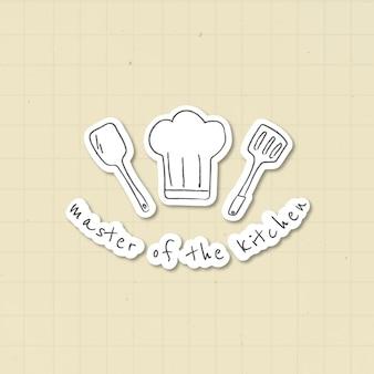 Doodle keukengerei apparatuur sticker