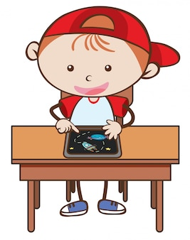Doodle kid playing tablet op witte achtergrond