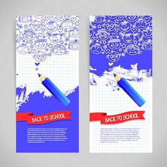 Doodle kind cartoon banners. terug naar school ontwerp
