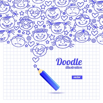 Doodle kind cartoon ontwerp