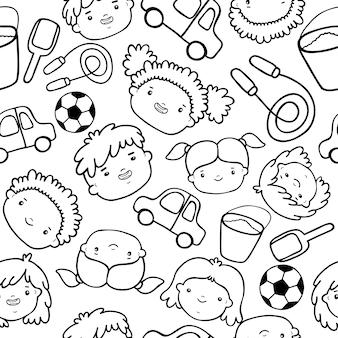 Doodle kinderen gezichten patroon