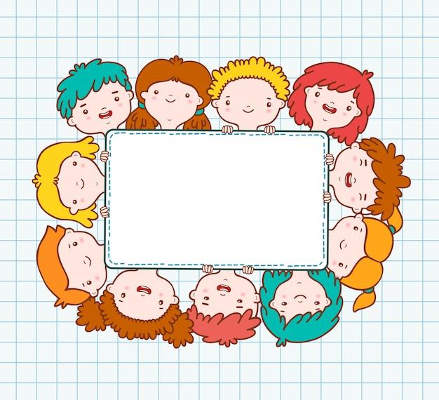 Doodle kinderen leeg frame