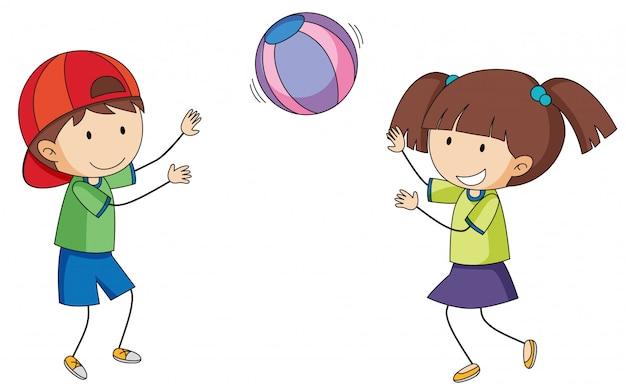 Doodle kinderen spelen bal
