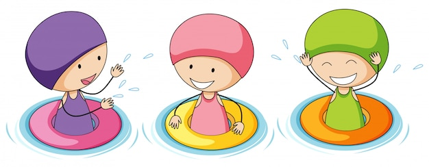 Doodle kinderen spelen in water