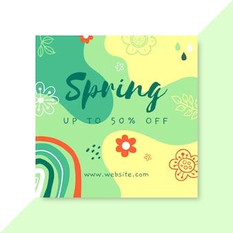 Doodle kleurrijke lente facebook instagram post