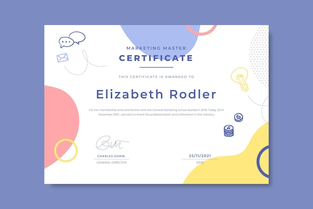 Doodle kleurrijke zakelijke certificaten