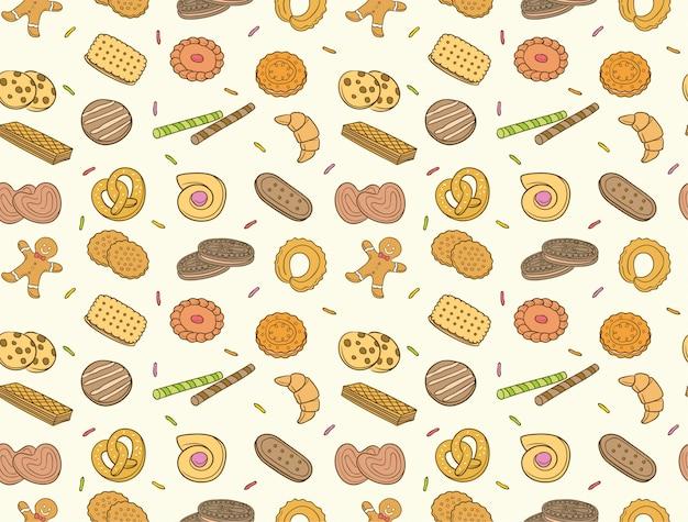 Doodle koekjes en koekjes naadloos patroon