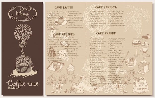 Doodle koffie restaurant menusjabloon
