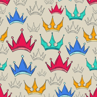 Doodle kroon naadloze patroon