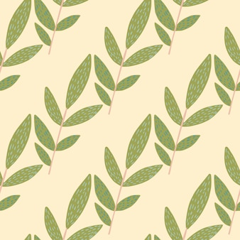 Doodle kruidentakjes met streepjes op lichte achtergrond. naadloze patroon. decoratieve achtergrond voor stof, textieldruk, verpakking, omslag. illustratie
