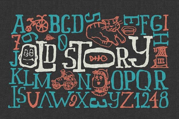 Doodle lettertype ingesteld met grappige illustraties