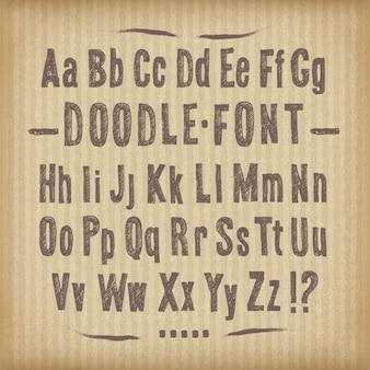 Doodle lettertype op kartontextuur