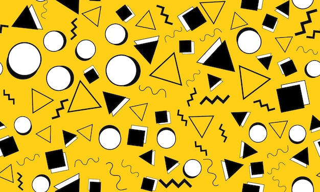 Doodle leuke achtergrond. naadloze patroon. gele doodle achtergrond. naadloze jaren 90. memphis patroon. vectorillustratie. hipster-stijl 80s-90s. abstracte kleurrijke funky achtergrond.
