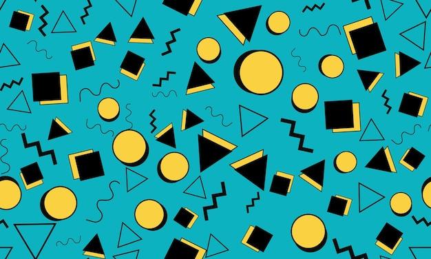 Doodle leuke achtergrond. naadloze patroon. zomer doodle achtergrond. naadloze jaren 90. memphis patroon. vectorillustratie. hipster-stijl 80s-90s. abstracte kleurrijke funky achtergrond.