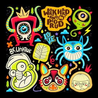 Doodle leuke monster sticker pictogrammen hand getekende kleur vector