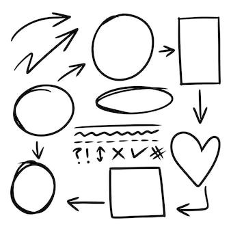 Doodle lijnen, pijlen, cirkels en curven vector.hand getrokken ontwerpelementen geïsoleerd op een witte achtergrond voor infographic. vectorillustratie.
