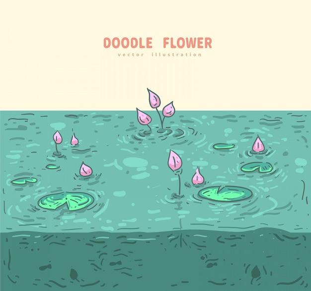 Doodle lotus met water achtergrond
