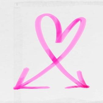 Doodle markeer hart pijl vector in roze toon