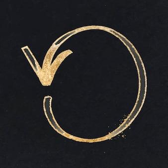 Doodle markeer pijlvector tegen de klok in in goudtint