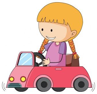 Doodle meisje rijdende speelgoedauto