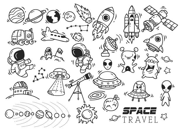 Doodle met ruimte-thema