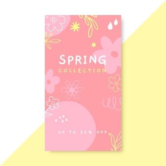 Doodle monochromatisch lente instagramverhaal