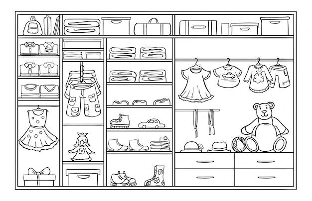 Doodle monochroom kinderen kledingkast concept