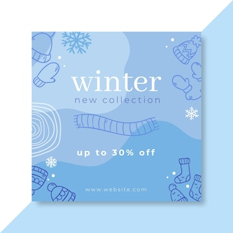 Doodle monocolor winter facebook-bericht