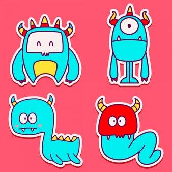Doodle monster cartoon characterdesign sticker