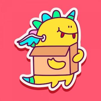 Doodle monster sticker ontwerp