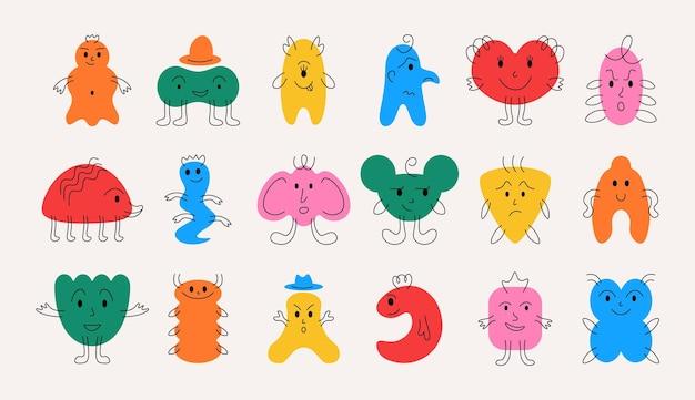 Doodle monsters handgetekende minimalistische grappige mascottes met vrolijke gezichtsemoties