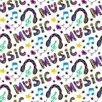 Doodle muziek naadloze patroon met hoofdtelefoons en belettering. vectorillustratie in leuke hippie kleur Premium Vector