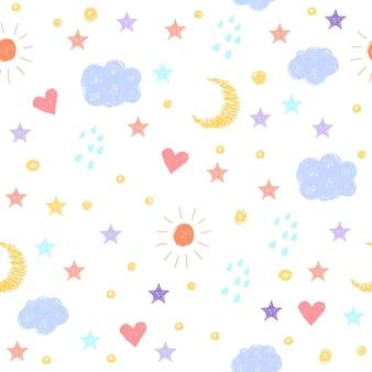 Doodle naadloze achtergrond. abstract kinderachtig weerpatroon voor kaart, uitnodiging, behang, album, plakboek, vakantie inpakpapier, textiel, kledingstuk, t-shirt enz