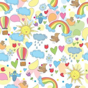 Doodle naadloze patroon - lucht, zon, regenboog en wolken, vliegtuig en heteluchtballonnen