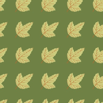Doodle naadloze patroon met blad silhouetten. groen palet bloemenkunstwerk. natuur print. vector illustratie.