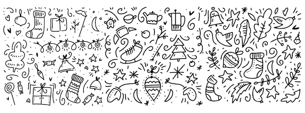 Doodle nieuwe jaar en winter elementen patroon. geïsoleerd op witte achtergrond.