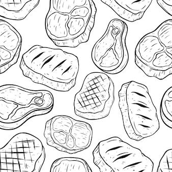 Doodle of hand tekening biefstuk in naadloze patroon