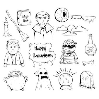 Doodle of met de hand getekende halloween pictogrammen met enge karakter