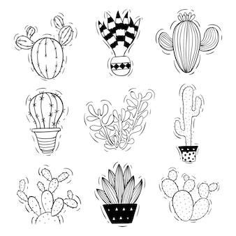 Doodle of schets stijl van cactus met pot