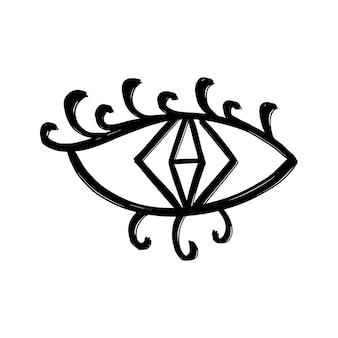 Doodle ogen hand getekende set. mystieke symbolen boho-collectie. boze oog, wassende maan en kristallen kunst. vector illustratie
