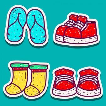 Doodle ontwerp cartoon stickers voor schoenen, sandalen en sokken