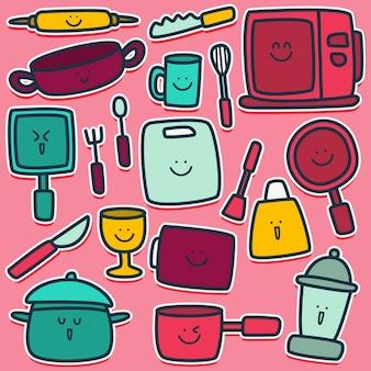 Doodle ontwerp grappige keuken apparatuur illustratie
