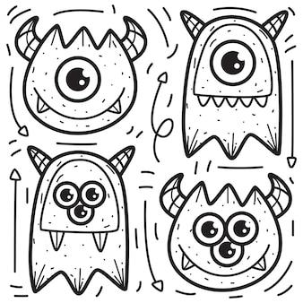 Doodle ontwerp kleuren monsters