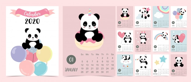 Doodle pastel kalender set 2020 met panda