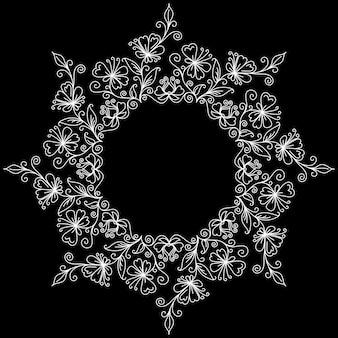 Doodle patroon van spiralen, wervelingen en bloemen