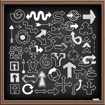 Doodle pijl symbolen set