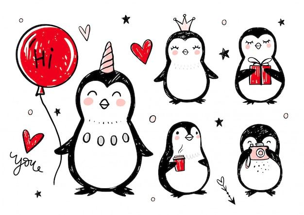Doodle pinguïns, hand getrokken set van grappige dieren. pinguïnkarakter in schetsstijl.