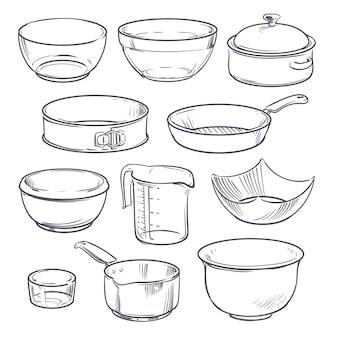 Doodle plastic en glazen kommen, pot en koekenpan. vintage hand getekend vector kookgerei geïsoleerd
